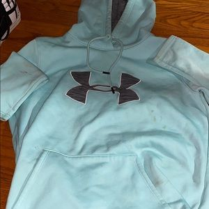 Woman's under armour hoodie light blue and grey